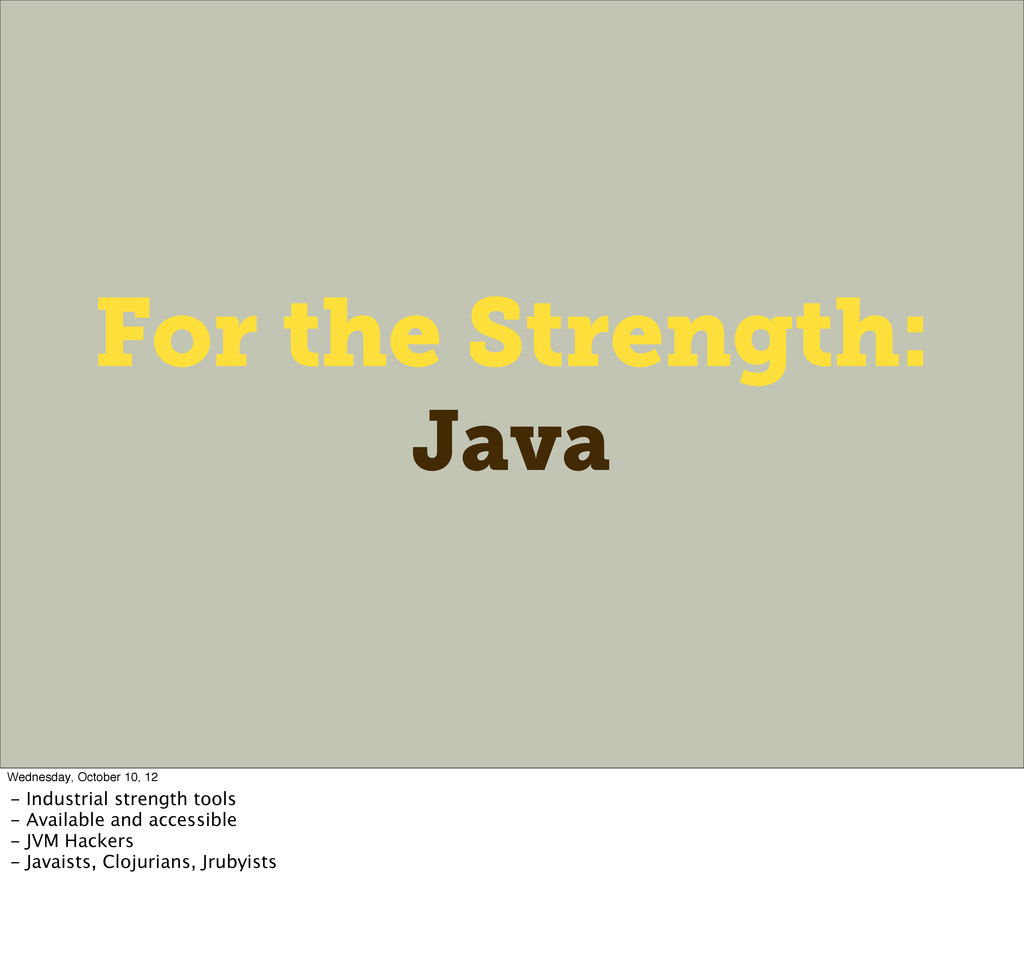 For the Strength: Java Wednesday, October 10, 1...