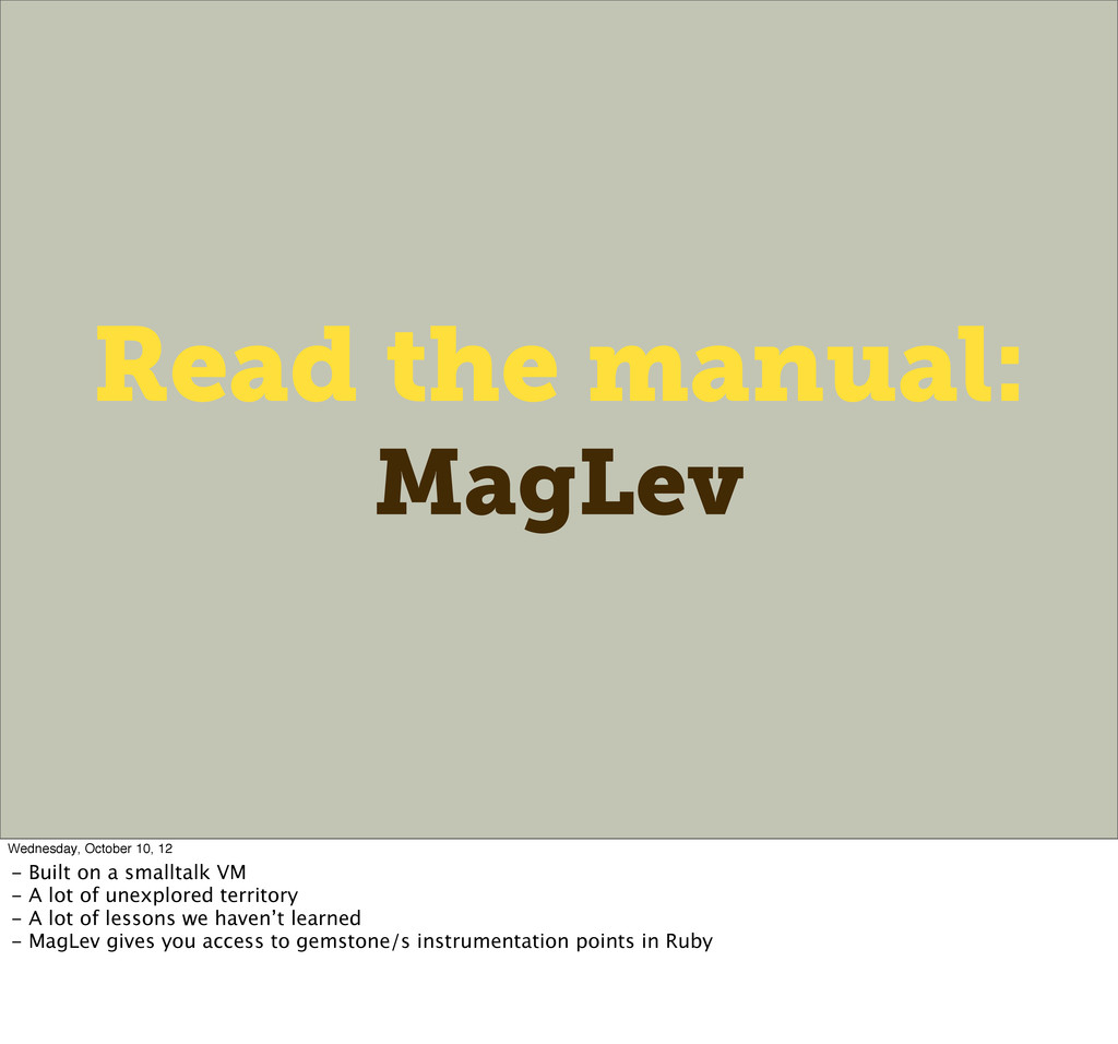 Read the manual: MagLev Wednesday, October 10, ...