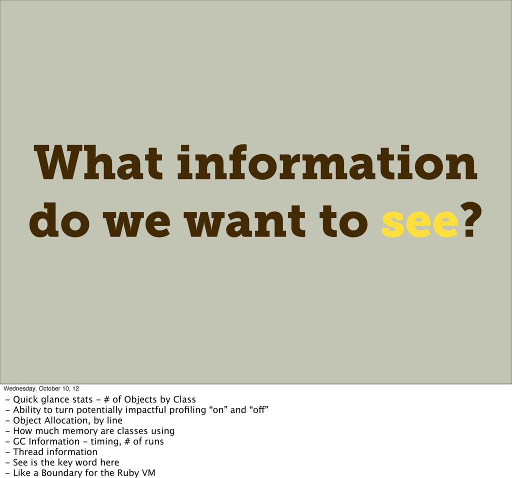 What information do we want to see? Wednesday, ...