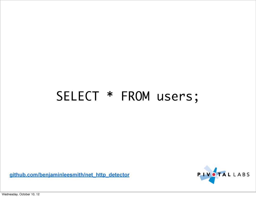 SELECT * FROM users; github.com/benjaminleesmit...