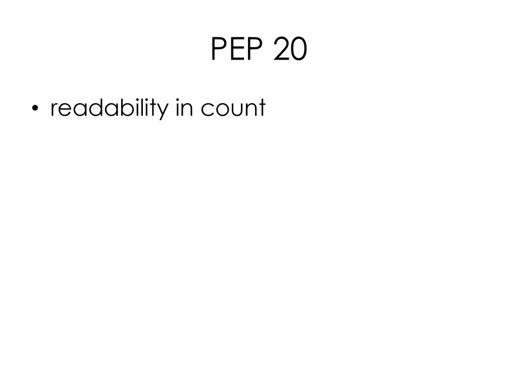 PEP 20 • readability in count