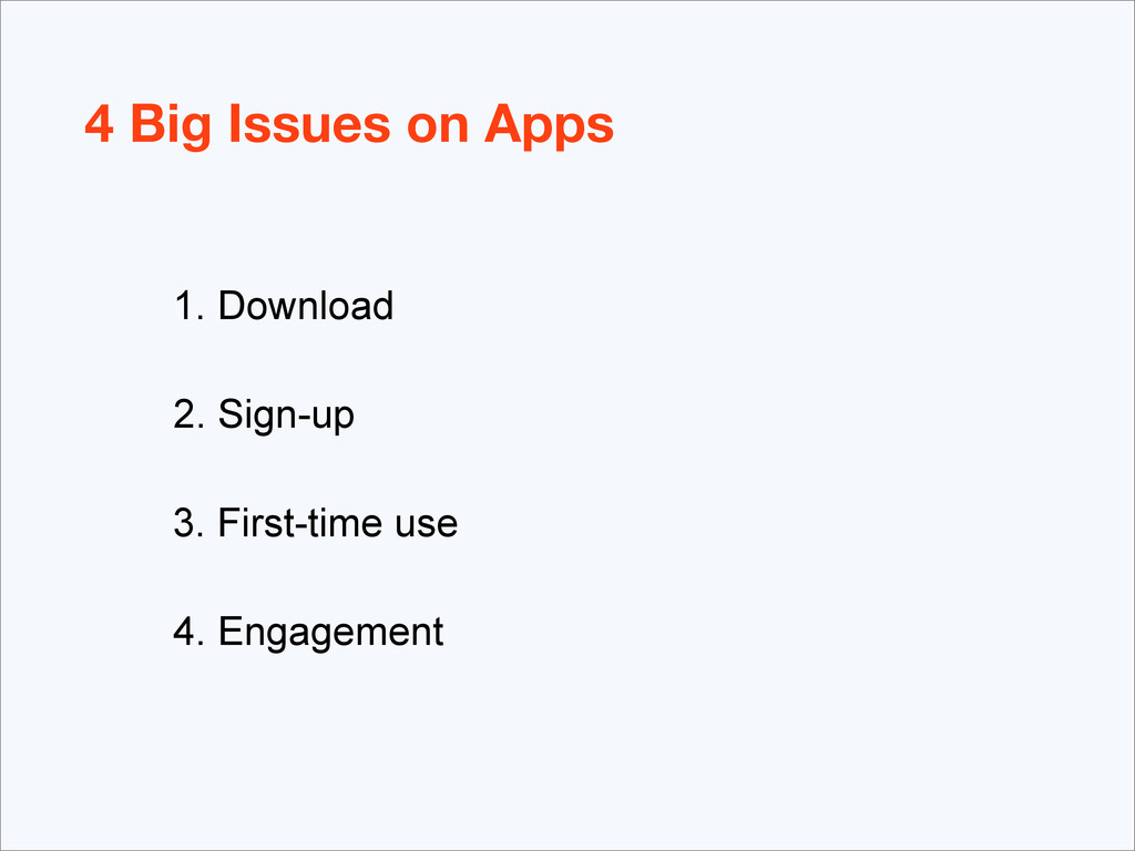 4 Big Issues on Apps 1. Download 2. Sign-up 3. ...