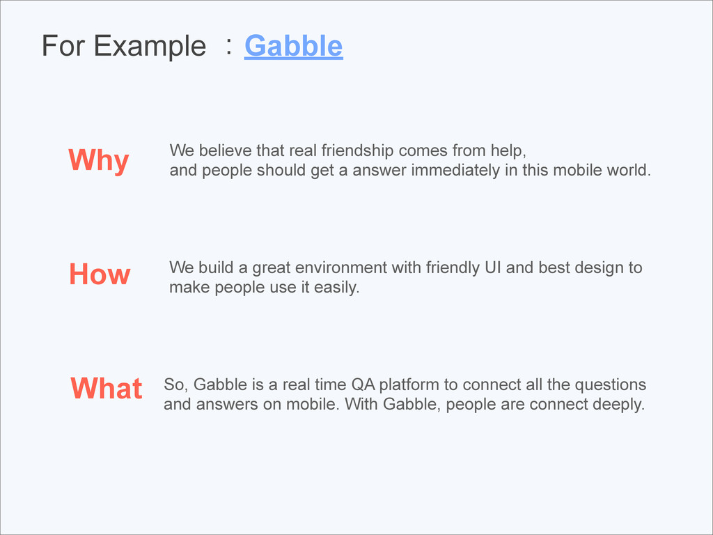 For Example :Gabble Why How What We believe tha...