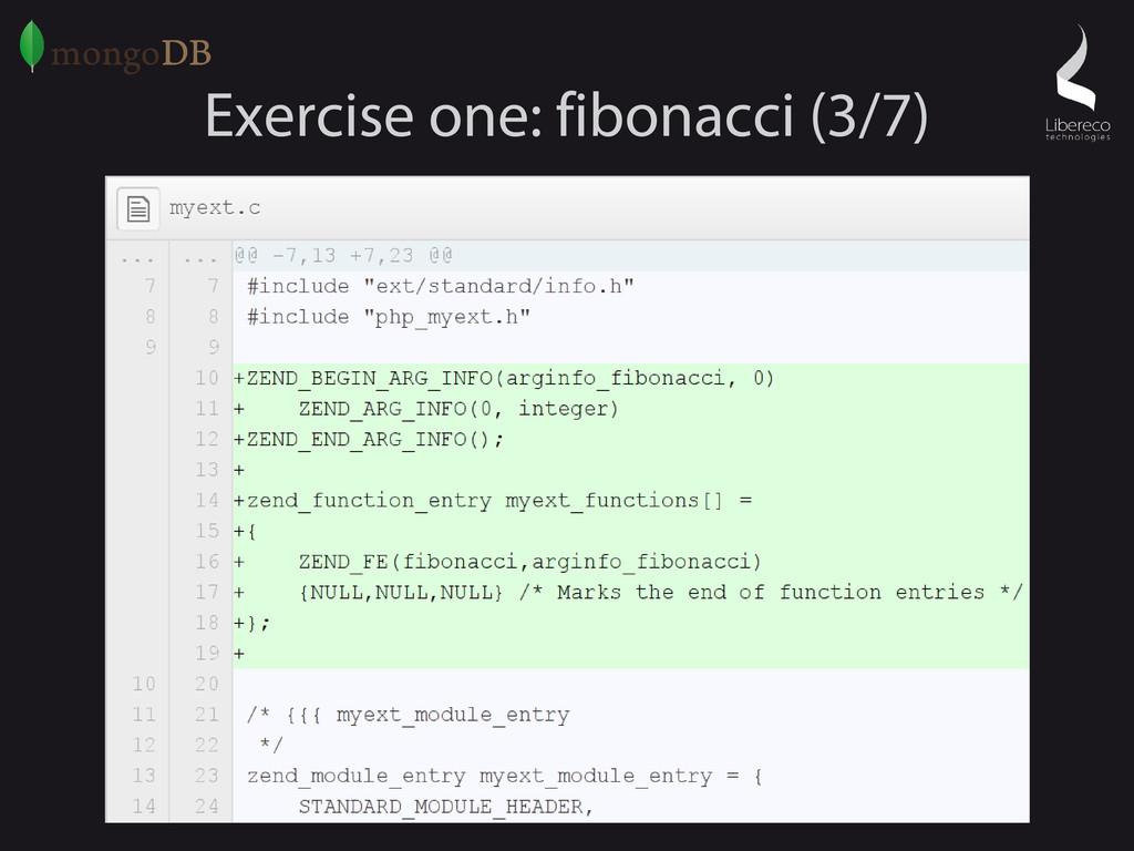 Exercise one: fibonacci (3/7)
