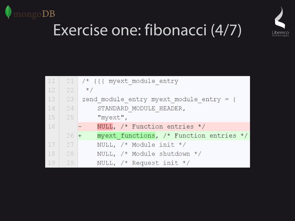 Exercise one: fibonacci (4/7)