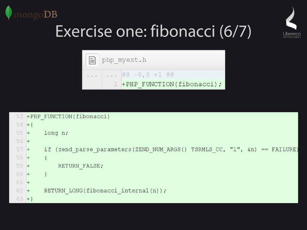 Exercise one: fibonacci (6/7)