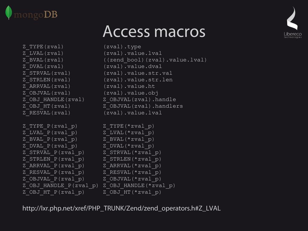 Access macros Z_TYPE(zval) (zval).type Z_LVAL(z...