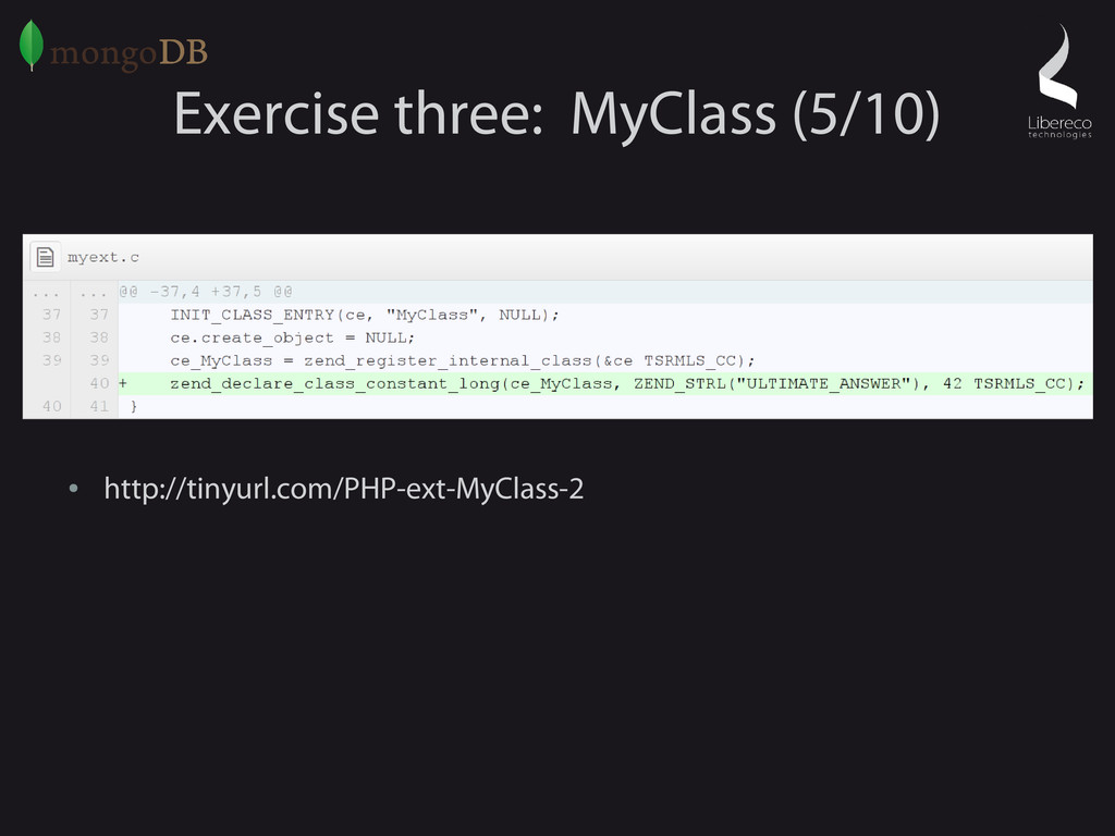 Exercise three: MyClass (5/10) ● http://tinyurl...