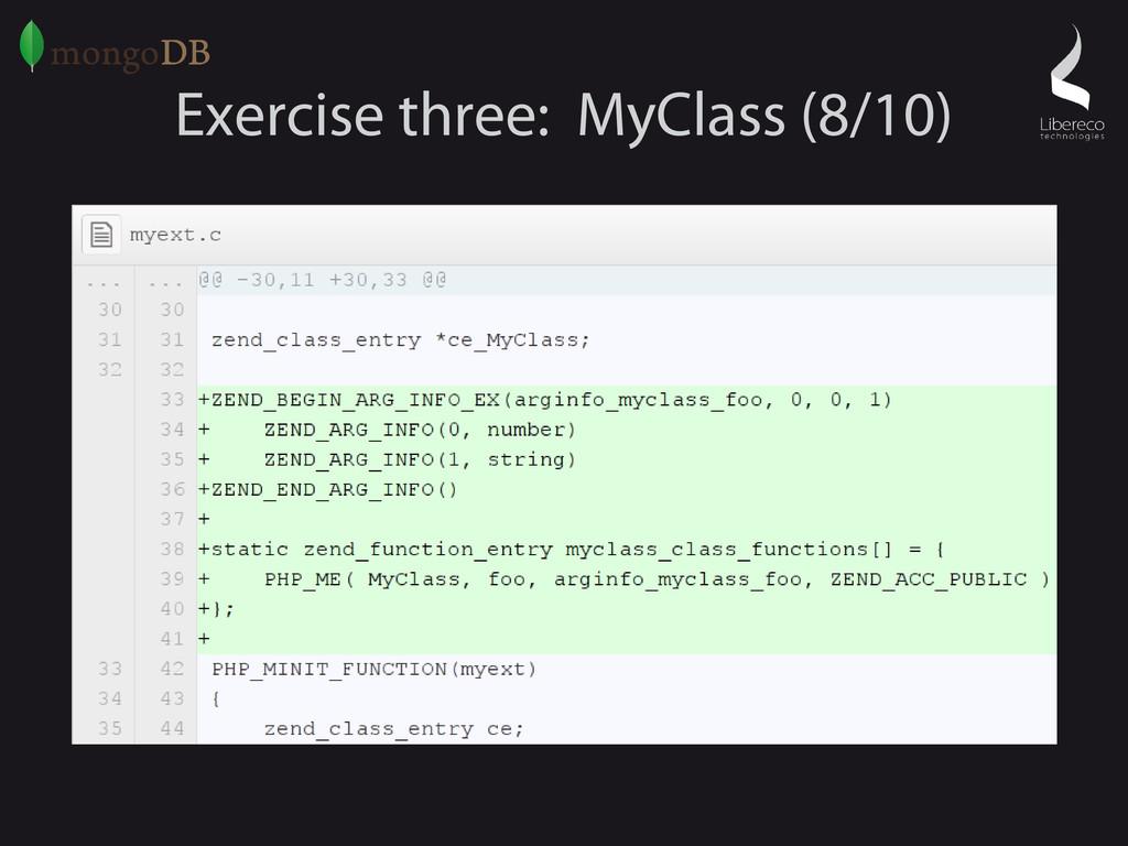 Exercise three: MyClass (8/10)