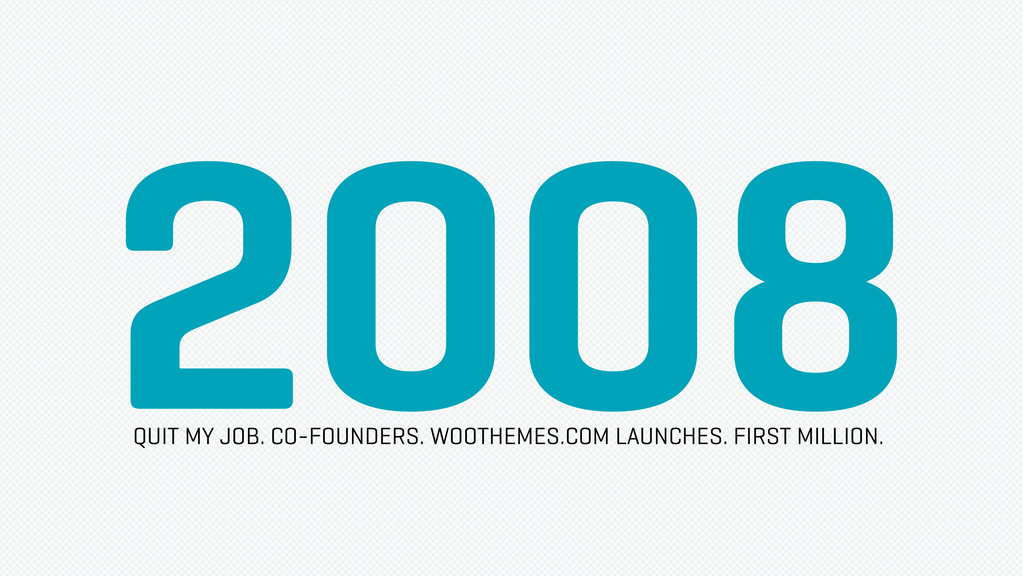 2008 QUIT MY JOB. CO-FOUNDERS. WOOTHEMES.COM LA...