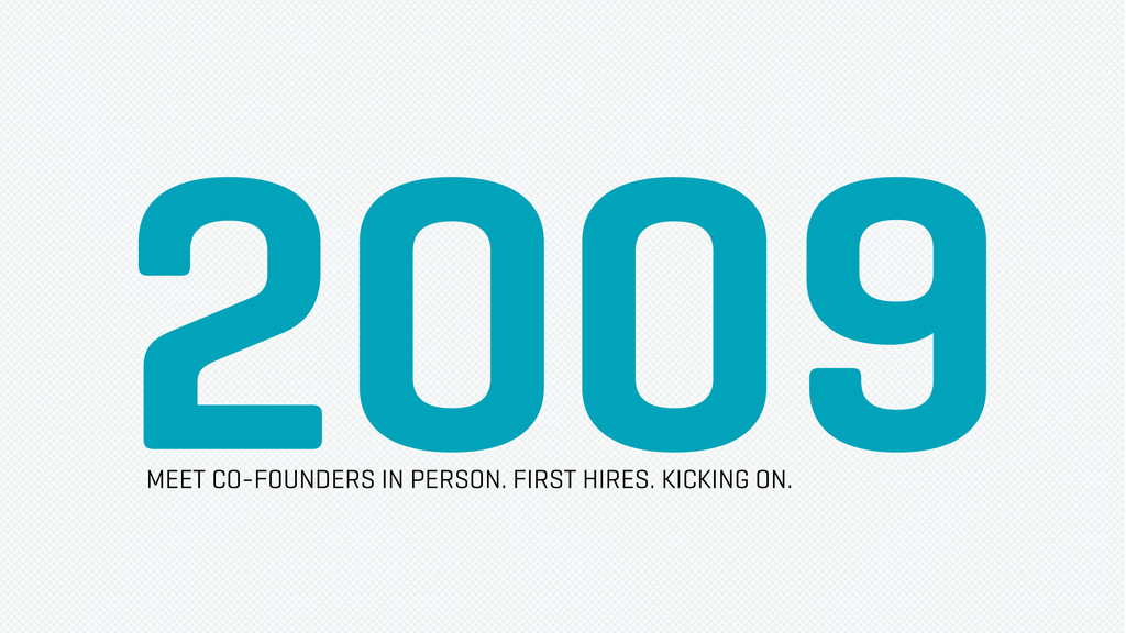 2009 MEET CO-FOUNDERS IN PERSON. FIRST HIRES. K...