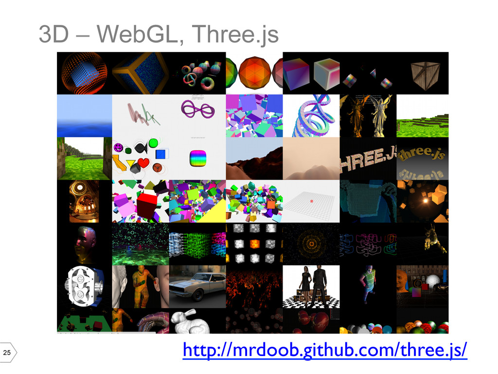 25 3D – WebGL, Three.js http://mrdoob.github.co...