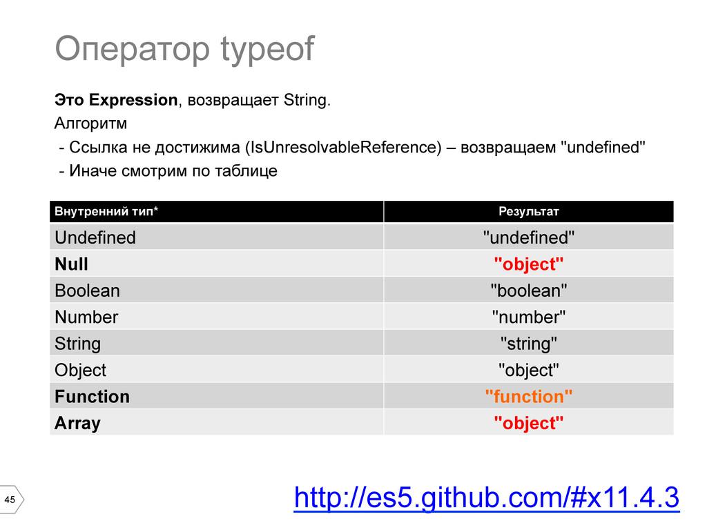 45 Оператор typeof Внутренний тип* Результат Un...