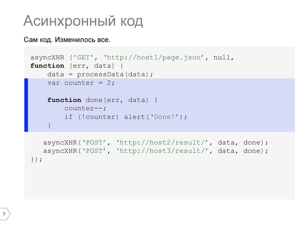 7 Сам код. Изменилось все. Асинхронный код asyn...