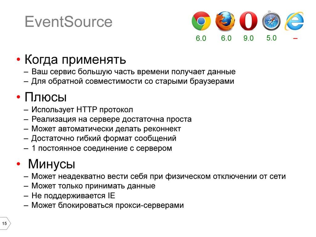 15 EventSource • Когда применять – Ваш сервис...