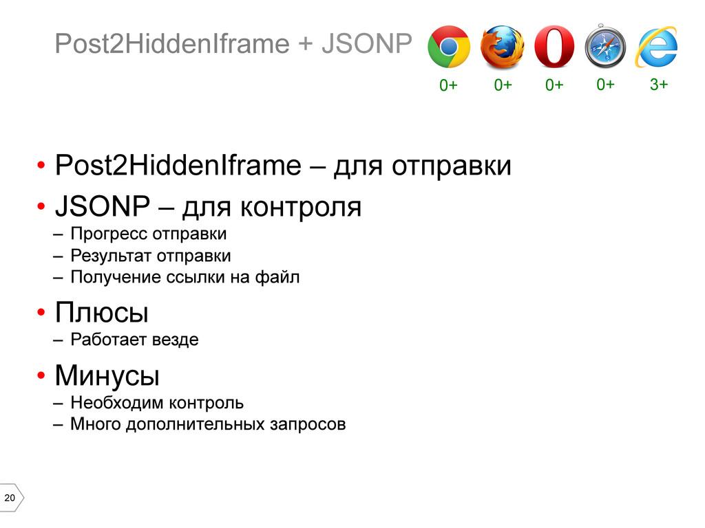 20 Post2HiddenIframe + JSONP • Post2HiddenIfra...