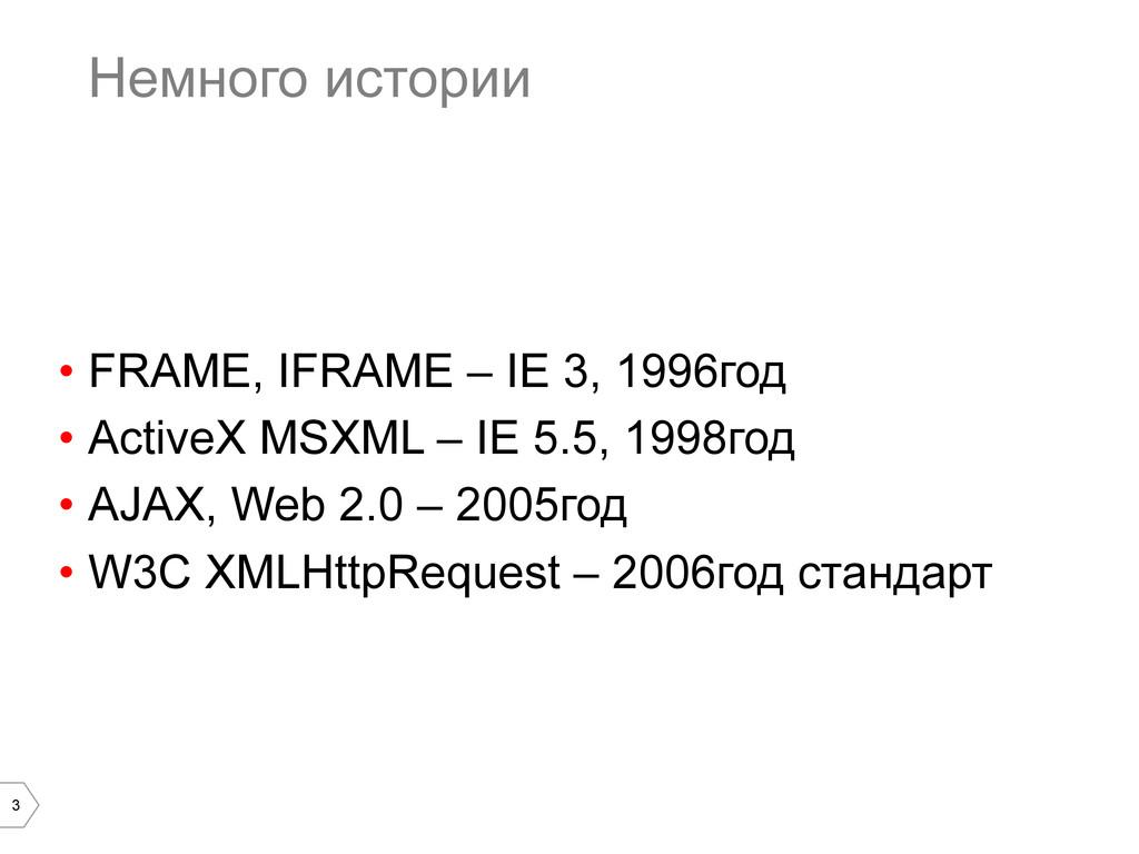 3 Немного истории • FRAME, IFRAME – IE 3, 1996...