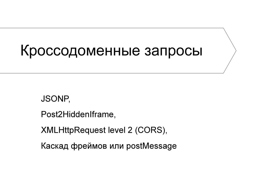 Кроссодоменные запросы JSONP, Post2HiddenIframe...
