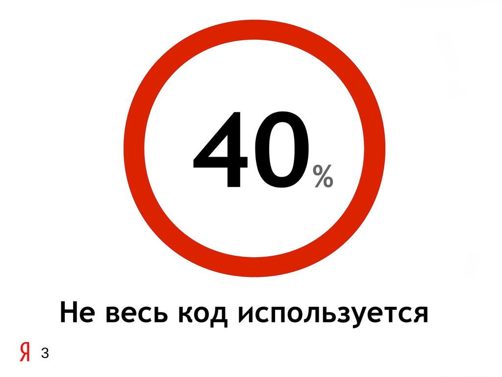 3 Не весь код используется 40 %