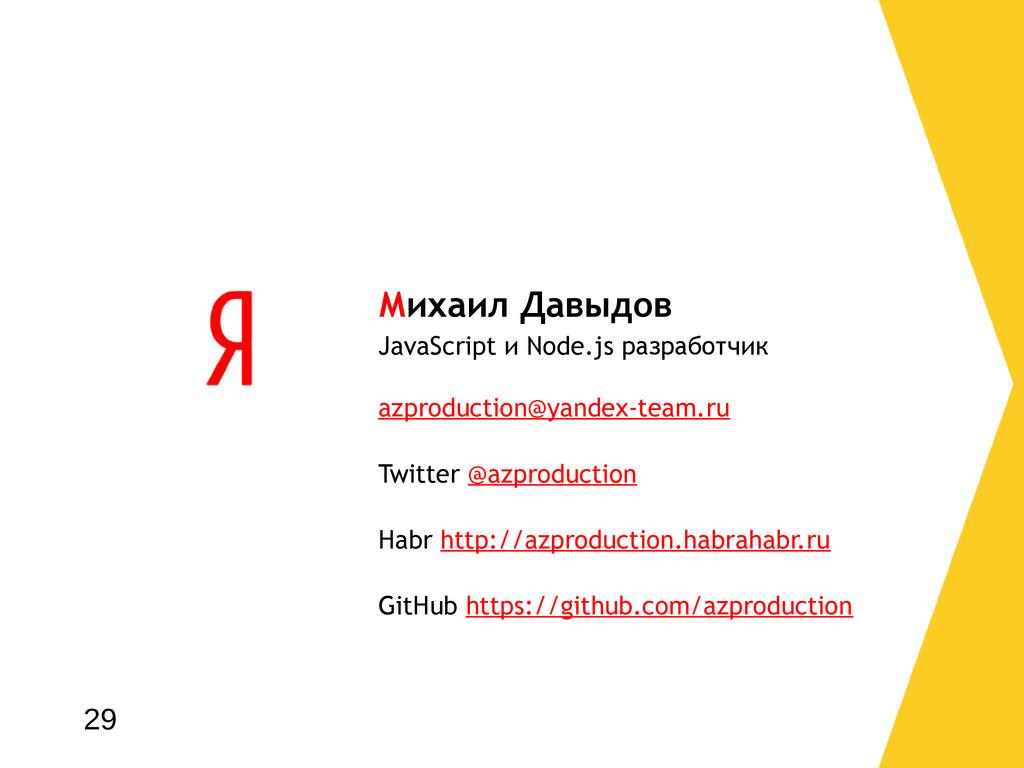 Михаил Давыдов JavaScript и Node.js разработчик...