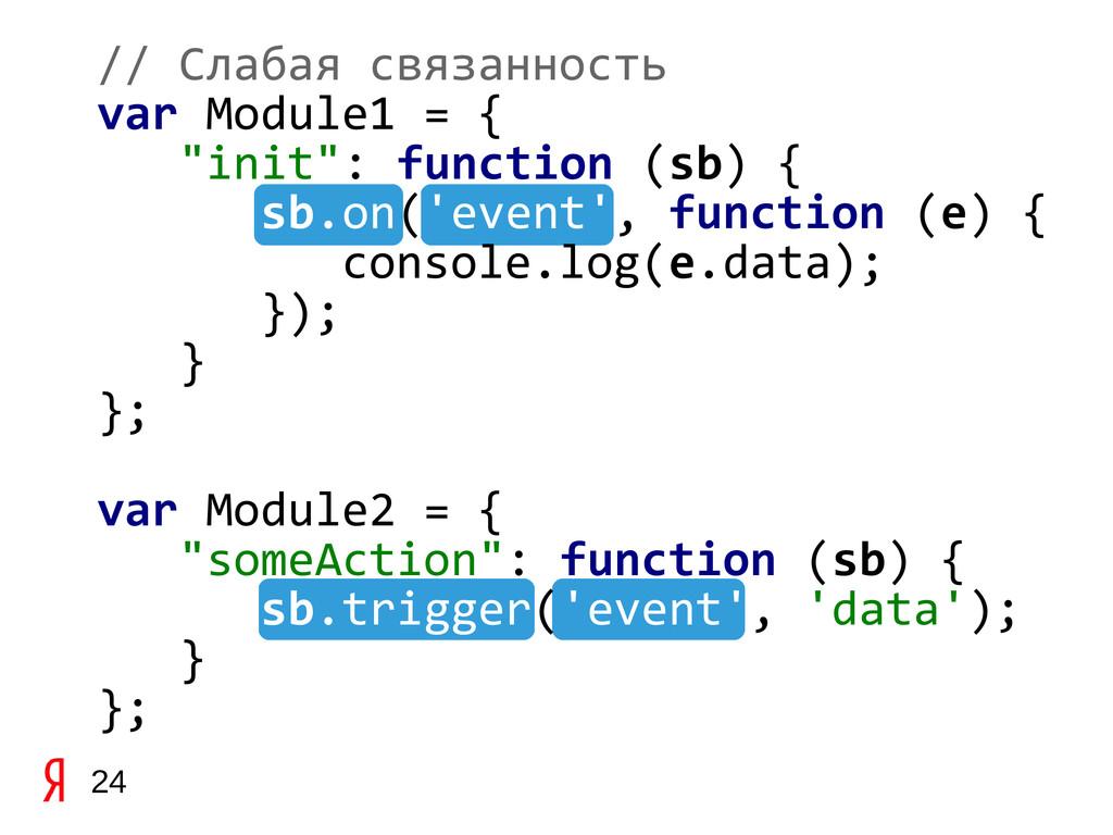 """24 // Слабая связанность var Module1 = { """"init""""..."""