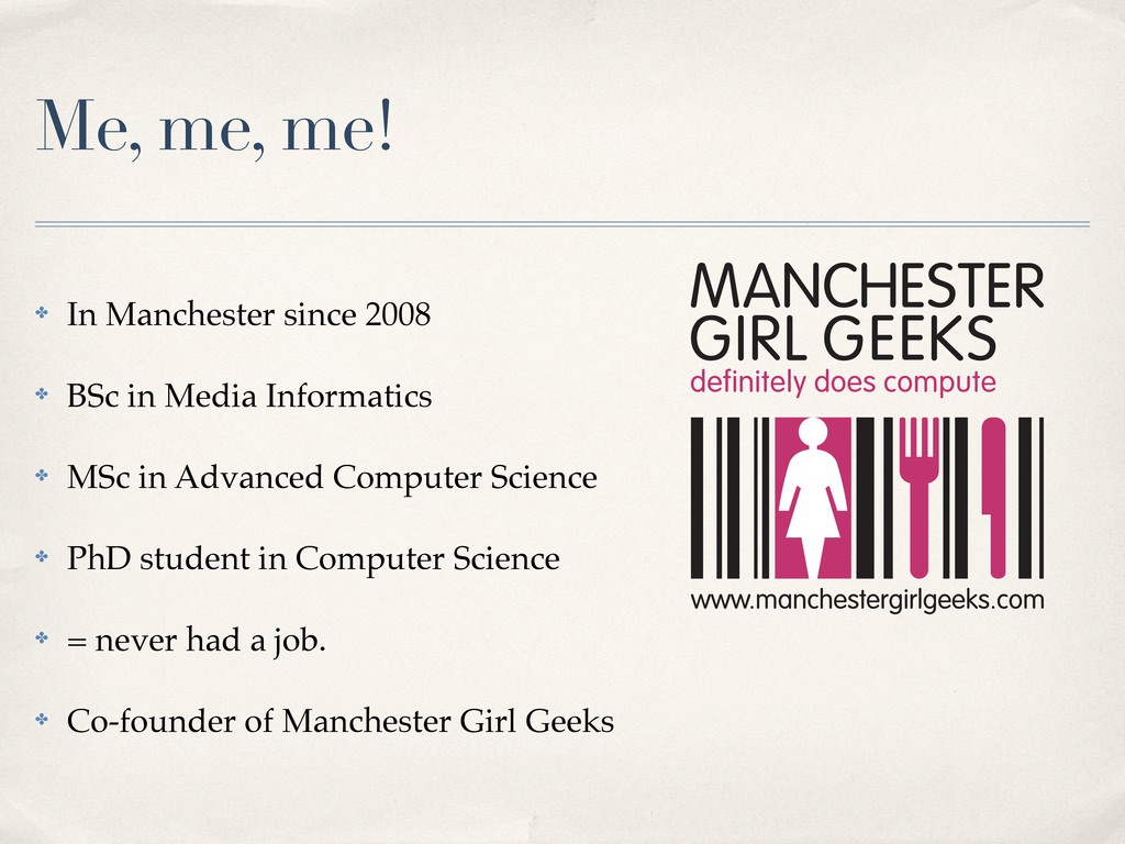 Me, me, me! ✤ In Manchester since 2008 ✤ BSc in...