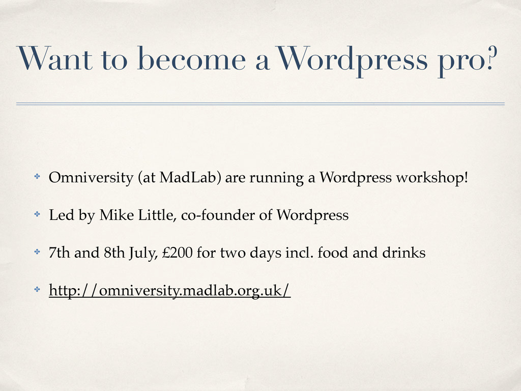Want to become a Wordpress pro? ✤ Omniversity (...