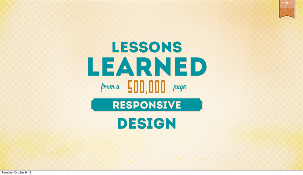 from a 1 DESIGN LESSONS LEARNED page 500,000 Tu...