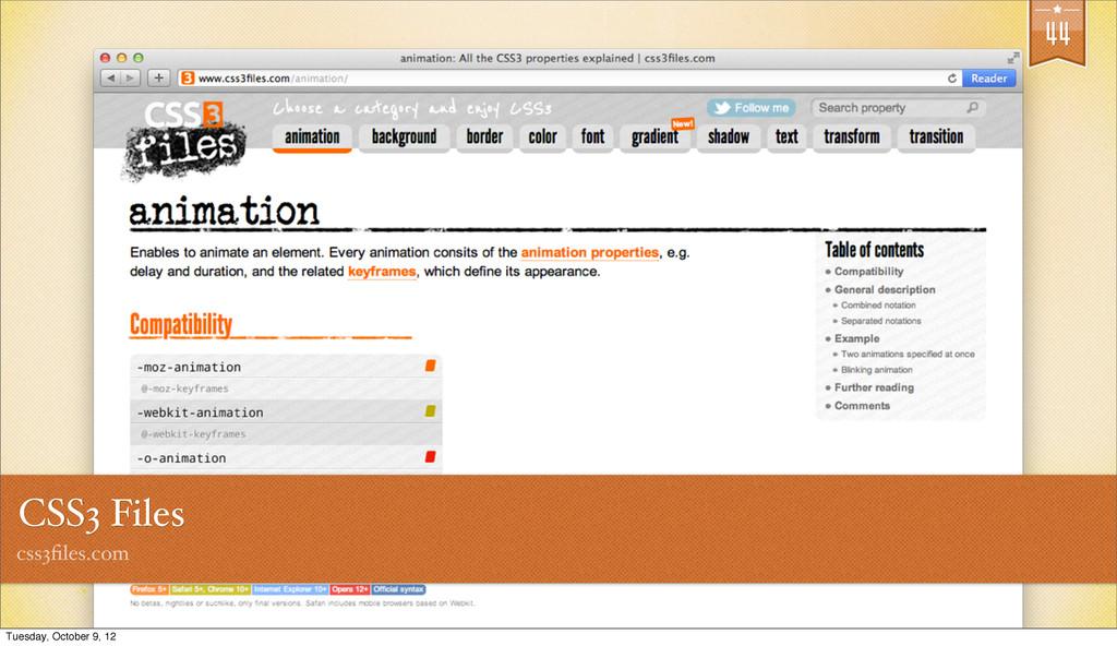 44 CSS3 Files css3files.com Tuesday, October 9, ...