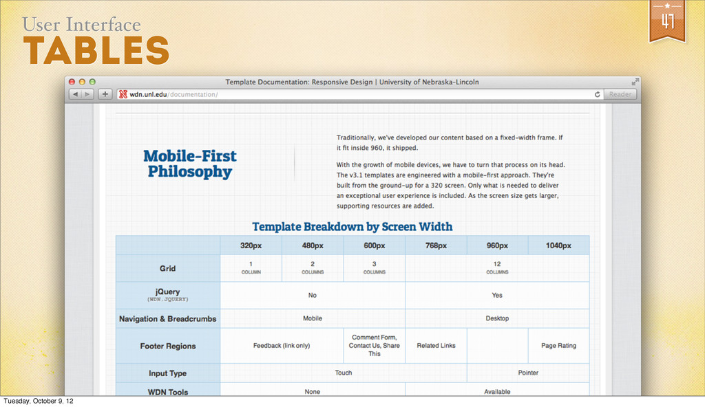 47 User Interface Tables Tuesday, October 9, 12