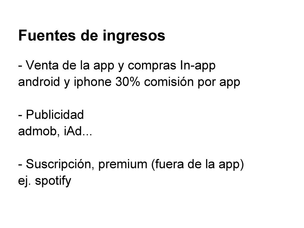 Fuentes de ingresos - Venta de la app y compras...