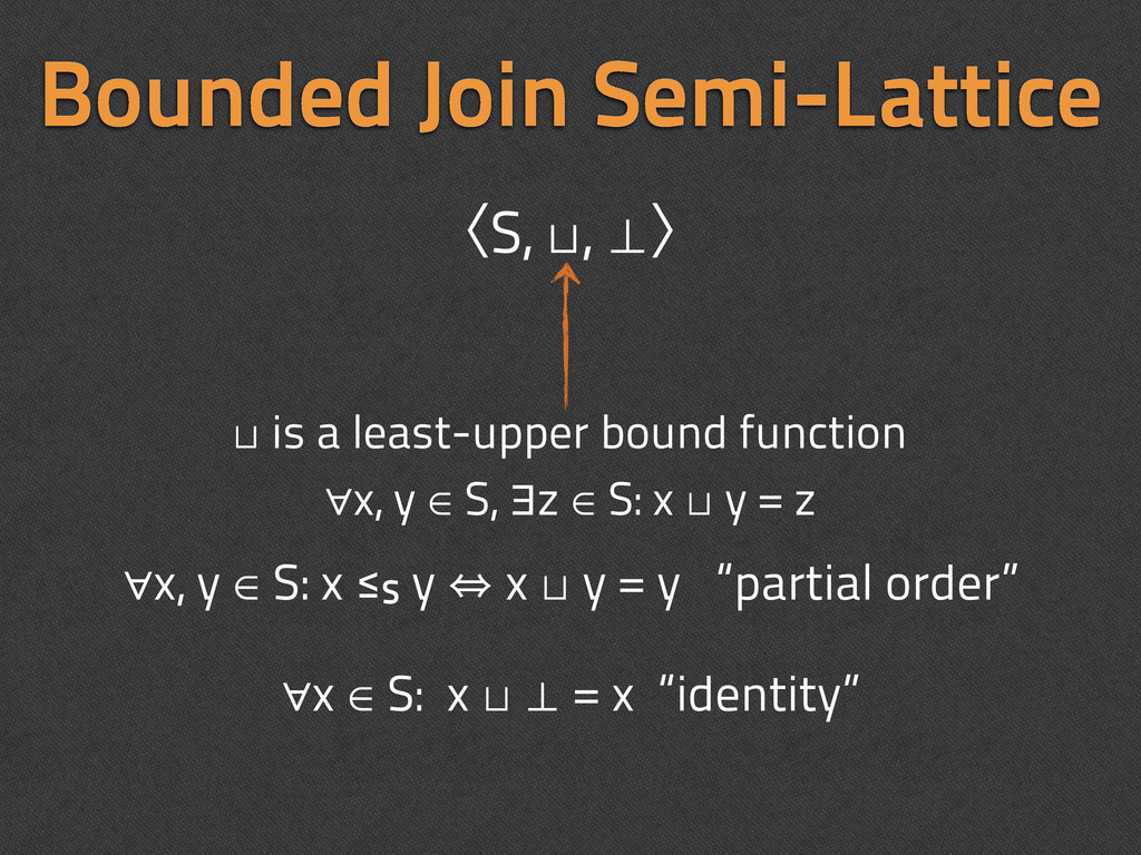 Bounded Join Semi-Lattice ∀x, y ∈ S: x ≤S y 㱻 x...