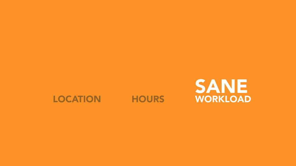 SANE HOURS LOCATION WORKLOAD