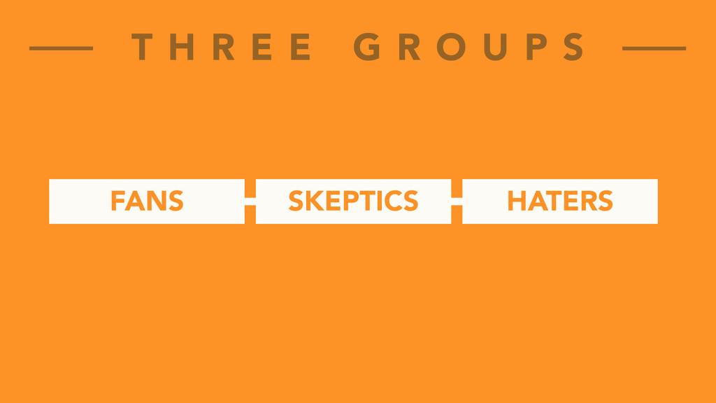 FANS T H R E E G R O U P S SKEPTICS HATERS