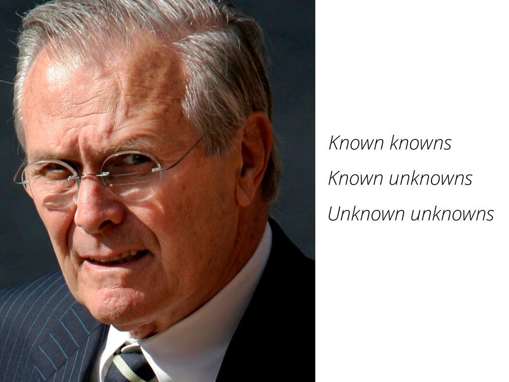 Known knowns Unknown unknowns Known unknowns
