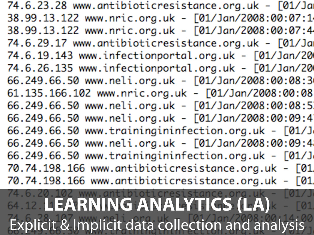 LEARNING ANALYTICS (LA) Explicit & Implicit dat...