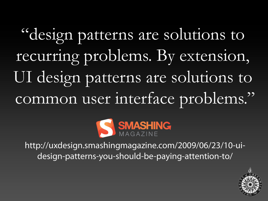 """""""design patterns are solutions to recurring pro..."""
