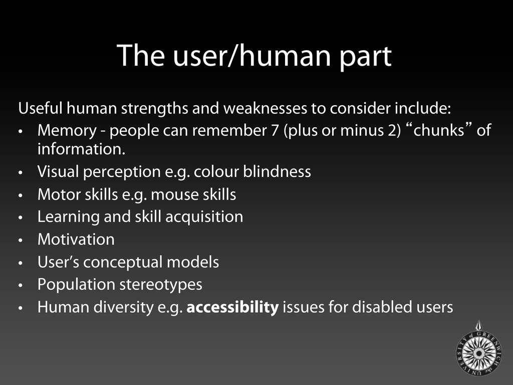 The user/human part Useful human strengths and ...