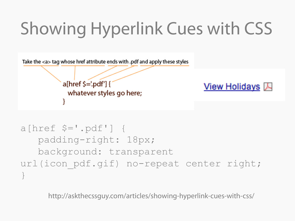 Showing Hyperlink Cues with CSS a[href $='.pdf'...