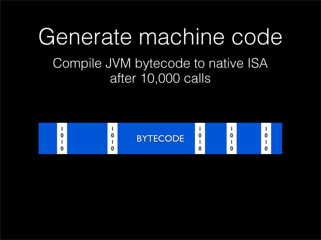 Generate machine code Compile JVM bytecode to n...