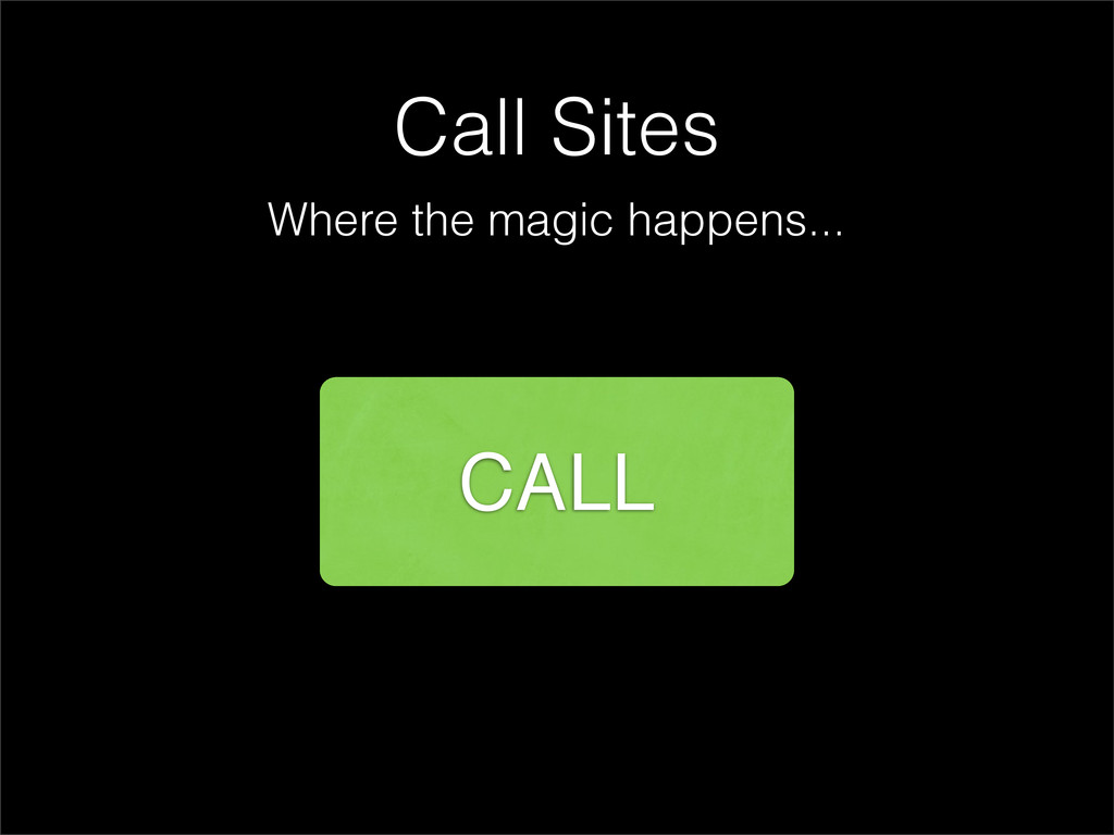 Call Sites Where the magic happens... CALL