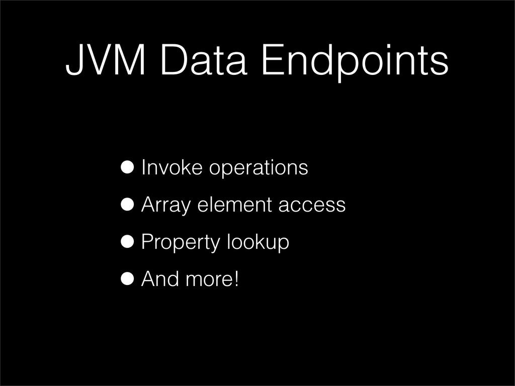 JVM Data Endpoints •Invoke operations •Array el...