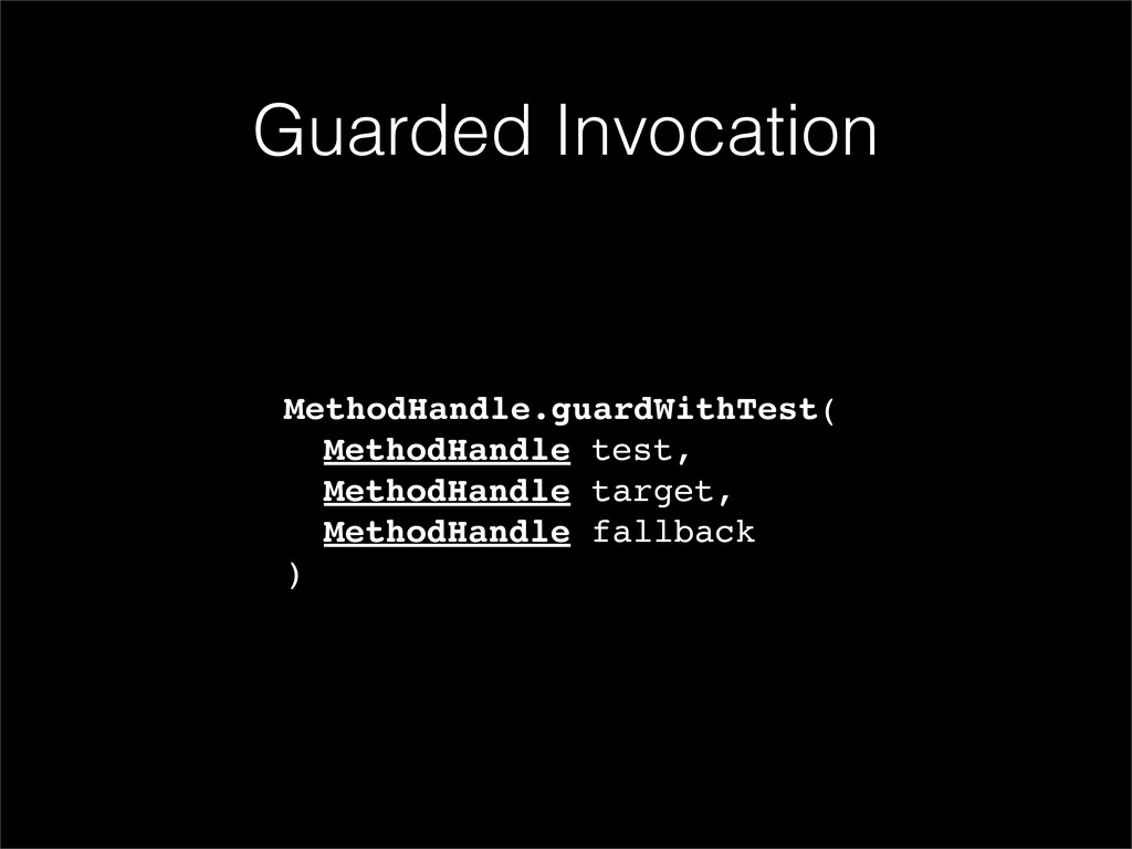 MethodHandle.guardWithTest( ! MethodHandle test...