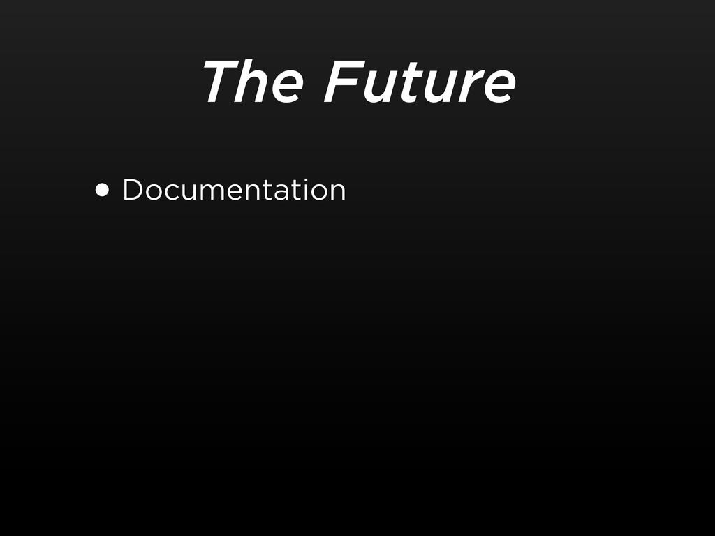 The Future •Documentation