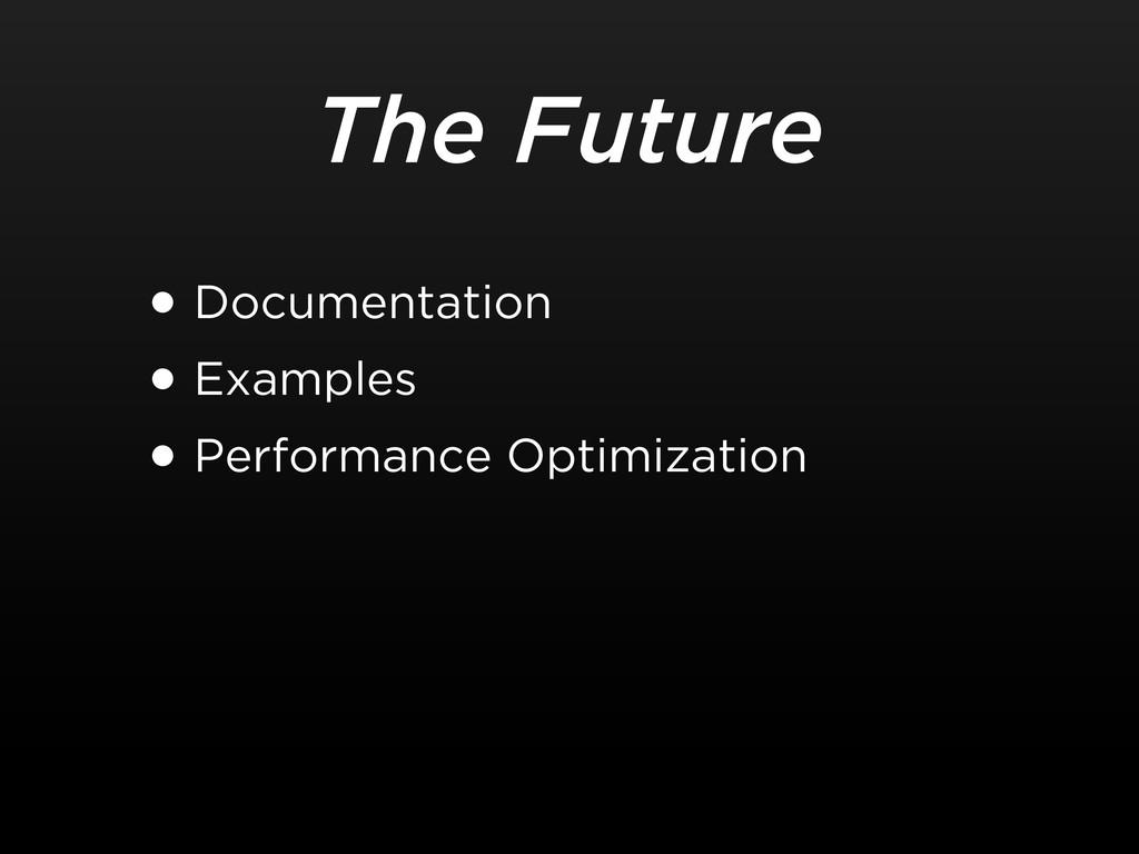 The Future •Documentation •Examples •Performanc...