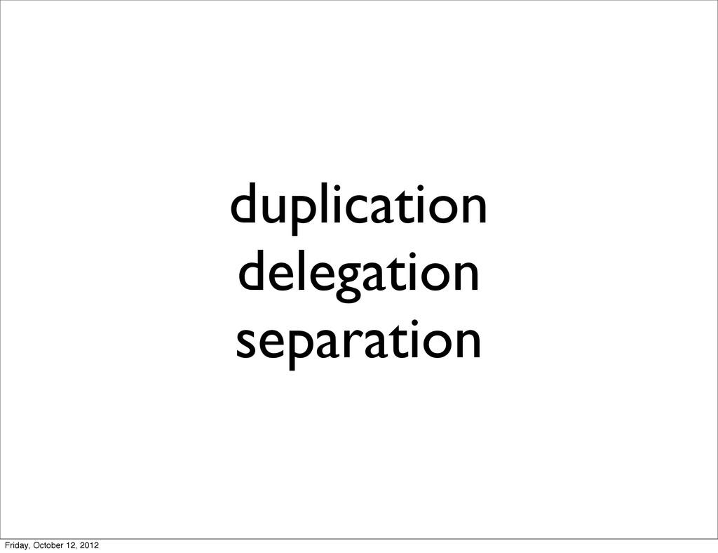 duplication delegation separation Friday, Octob...