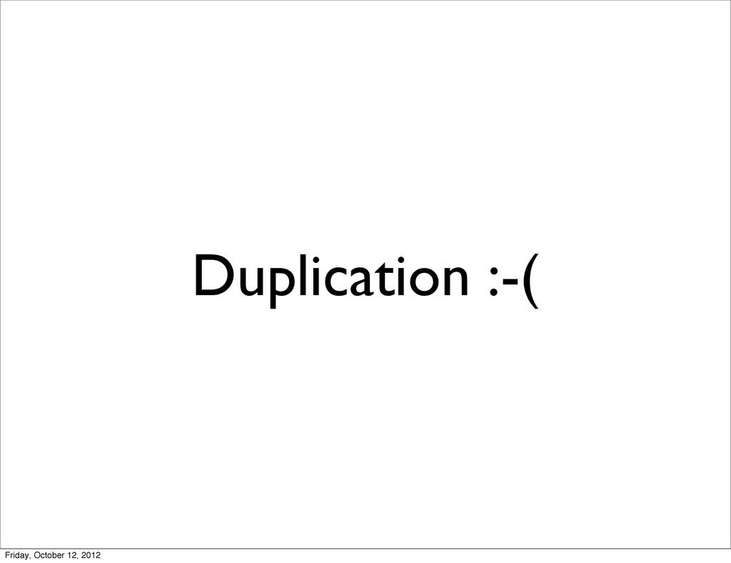 Duplication :-( Friday, October 12, 2012