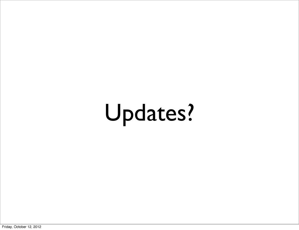 Updates? Friday, October 12, 2012