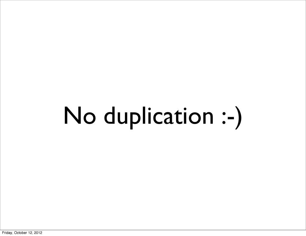 No duplication :-) Friday, October 12, 2012