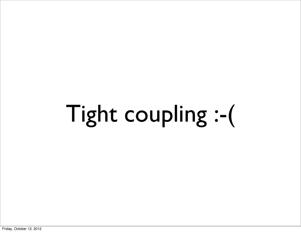 Tight coupling :-( Friday, October 12, 2012